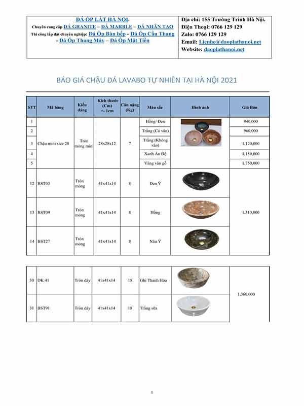 Giá lavabo đá tại Hà Nội
