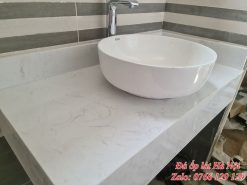 Thi công bàn đá lavabo trắng tại Hà Đông